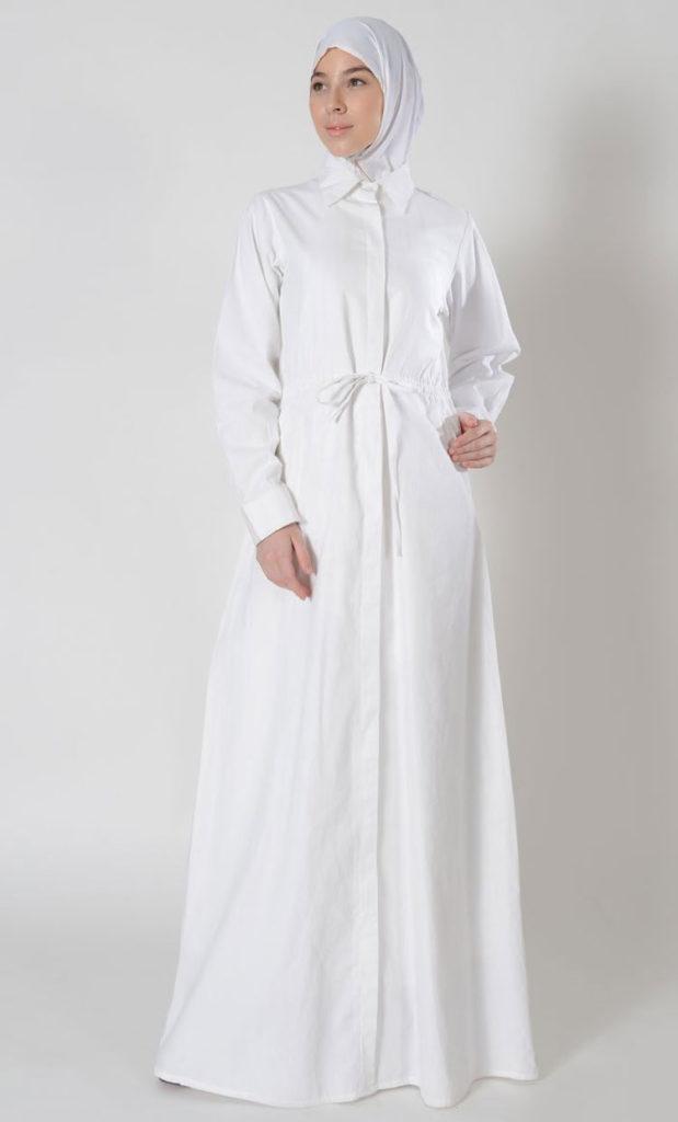 10 Contoh Inspirasi Baju Gamis Warna Putih Yang Cantik Besok Sukses